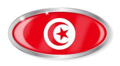 Tunisia Flag Oval Button - stock illustration