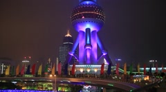 Shanghai orient pearl TV tower at night Stock Footage