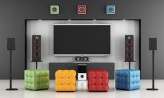 Colorful home cinema - stock illustration