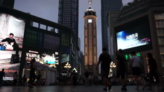 Jiefangbei CBD, the main central business district of Chongqing city Stock Footage