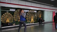 Beggars at the subway station in Shanghai Stock Footage