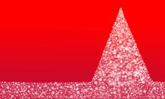 Christmas Tree made from snowflakes on red background - stock illustration