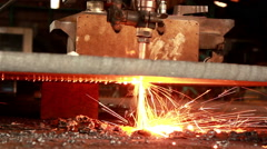 Sparkles, Fire gas cutting slab, Industry steel background. Stock Footage