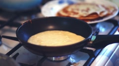Pancakes fry cook lifestyle homemade food plate Stock Footage