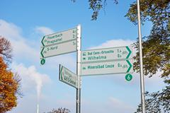 Cycling track signpost - stock photo