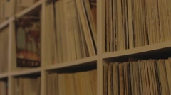Shelves of Vinyls at the Music Shop Stock Footage