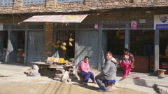 Street scene with local people, Baglung, Nepal. Stock Footage