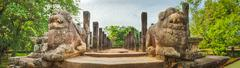The Council Chamber, Polonnaruwa, Sri Lanka. Panorama - stock photo