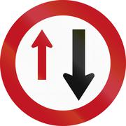 Stock Illustration of New Zealand road sign RG-19 - Give Way (to oncoming vehicles)