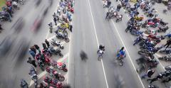 4K - Motorcycle Riders. Top view Stock Footage