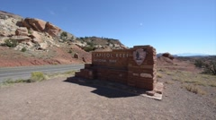 Capitol Reef National Park Entrance Stock Footage
