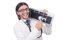 IT technician in security concept Stock Photos