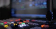 Hand Pulling The T-Bar On A Video Switcher Stock Footage