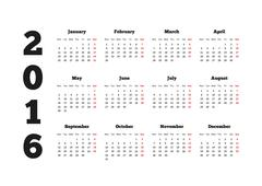 Calendar on 2016 year with week starting from monday, A4 sheet - stock illustration