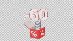 60 percent out of the box. Animated element with Alpha channel Stock Footage