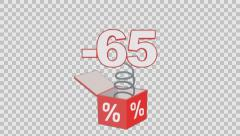 65 percent out of the box. Animated element with Alpha channel Stock Footage