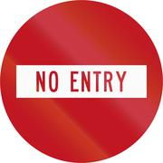 New Zealand road sign RG-9 - No Entry (Do Not Enter) - stock illustration