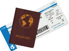 Stock Illustration of Passport and boarding pass isolated on white background