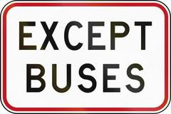 New Zealand road sign - Except buses Stock Illustration