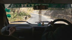 Driving in the off-road car, Annapurna region, Nepal. Stock Footage