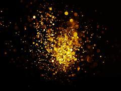 glitter vintage lights background. dark gold and black - stock photo