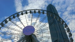 The Hong Kong Observation Wheel. Panning shot. Color graded. Stock Footage