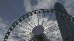 The Hong Kong Observation Wheel. Panning shot. Flat picture profile. Stock Footage