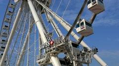 The Hong Kong Observation Wheel. Tilting shot. Color graded. Stock Footage