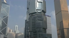 Skyscrapers in central business district of Hong Kong. Tilting shot. - stock footage
