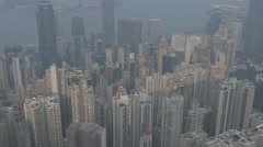 Aerial view of Hong Kong, static shot. Flat picture profile Stock Footage