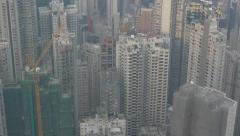 Aerial view of Hong Kong, panning shot. Flat picture profile. Stock Footage
