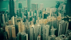 Aerial view of Hong Kong, tilting shot. Color graded. - stock footage