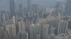 Aerial view of Hong Kong, tilting shot. Cinelike D flat picture profile. Stock Footage