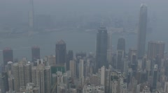 Aerial view of Hong Kong, panning shot. Cinelike D flat picture profile. - stock footage