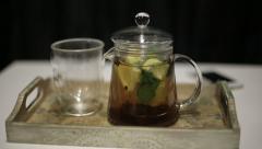 Tea with lemon Stock Footage