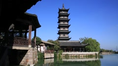 Traditional temple at Wuzhen, water village in China Stock Footage