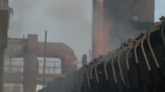 Smoke on the coke oven battery. Close-up Stock Footage