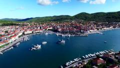 City of Vela Luka, Croatia, on Adriatic coast, drone - stock footage