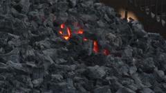 Coking coal smolders Stock Footage