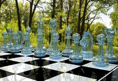 Chess board game in forest garden Stock Illustration
