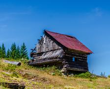 Traditional house in Apuseni Mountains, Romania. - stock photo
