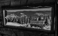 Windowed landscape in Apuseni Mountains,   Romania. B&W. - stock photo