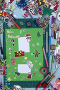 xmas scrapbook layout with a Happy xmas message in German - stock photo