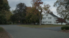 Large Colonial House, New England town green Establishing Shot Stock Footage
