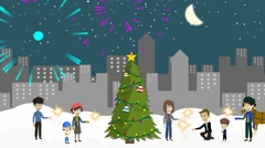 urban landscape and Christmas tree,  a lot of people, adults with children - stock footage