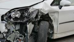 Close-up of a car after an accident. Insurance case. Stock Footage