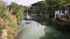 Beautiful landscape of water town, Wuzhen near Shanghai Stock Footage