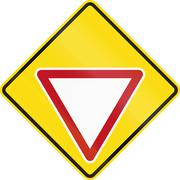 New Zealand road sign PW-2 - Give Way sign ahead - stock illustration