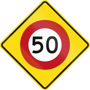 New Zealand road sign PW-2 - Speed limit ahead - stock illustration