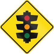 Stock Illustration of New Zealand road sign PW-3 - Traffic signals ahead
